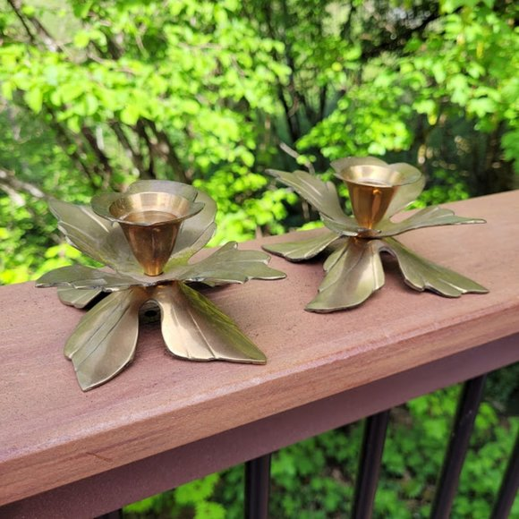 Vintage Pair Brass Lily Lotus Flower Candleholders